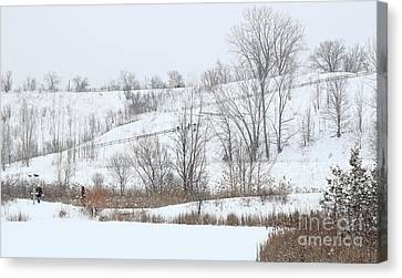 Hiking Trail With People And Dogs Canvas Print by Charline Xia