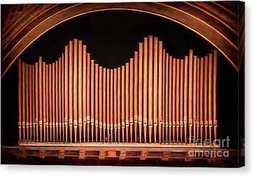 Hill Auditorium University Of Michigan Organpipes Canvas Print by Rebecca Snyder