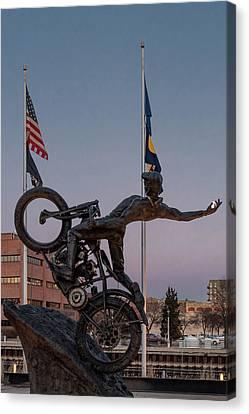 Canvas Print featuring the photograph Hill Climber Catches The Moon by Randy Scherkenbach
