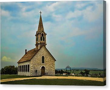 Hill Country Rock Church Canvas Print by Stephen Stookey