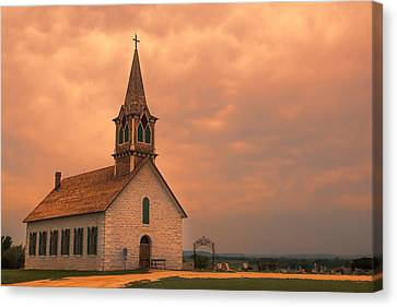 Hill Country Sunset - St Olafs Church Canvas Print by Stephen Stookey