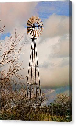Canvas Print featuring the photograph Hill Country Windmill by Michael Flood