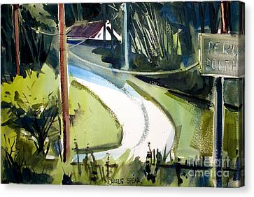Canvas Print featuring the painting Hill Top Drive Apartments Matted Framed Glassed by Charlie Spear