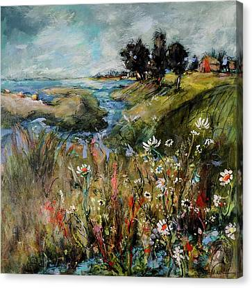 Hill Top Wildflowers Canvas Print by Sharon Furner