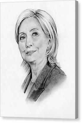 Hillary Clinton Pencil Portrait Canvas Print by Joyce Geleynse