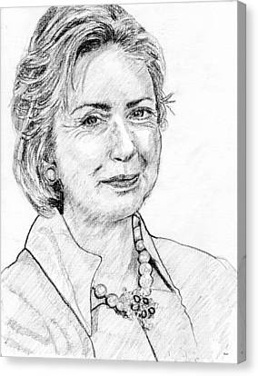 Hillary Clinton Pencil Portrait Canvas Print by Rom Galicia