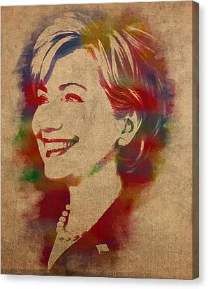 Hillary Rodham Clinton Watercolor Portrait Canvas Print by Design Turnpike