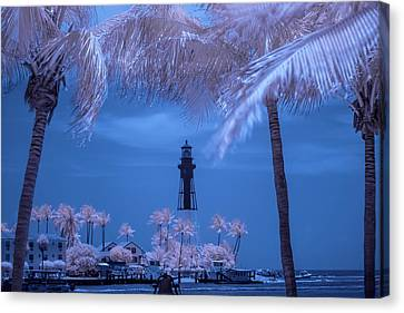 Canvas Print featuring the photograph Hillsboro Inlet Lighthouse Infrared by Louis Ferreira