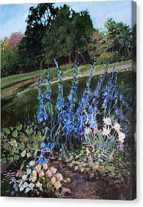Canvas Print featuring the painting Hillside Garden by Diane Ursin