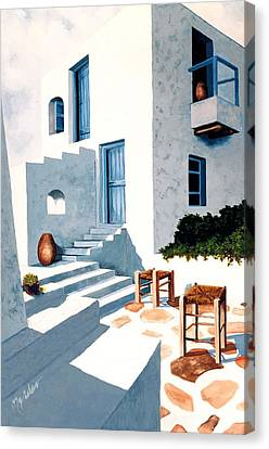 Mykonos, Hillside House - Prints Of Original Oil Painting Canvas Print by Mary Grden's Baywood Gallery