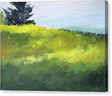 Canvas Print featuring the painting Hillside Meadow by Nancy Merkle