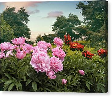 Hillside Peonies Canvas Print by Jessica Jenney