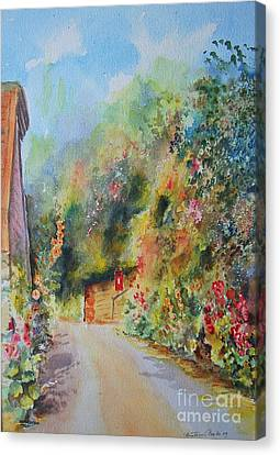 Canvas Print featuring the painting Hillside Street Hythe Kent by Beatrice Cloake