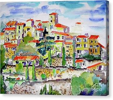 Hillside Village In Provence Canvas Print by Ginette Callaway