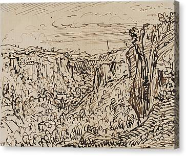 Hilly Landscape Canvas Print by Theodore Roussel