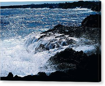 Hilo Coast Waves Canvas Print by Gary Cloud