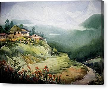 Himalaya Village Landscape Canvas Print