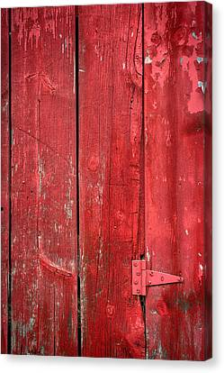 Hinge On A Red Barn Canvas Print by Steve Gadomski