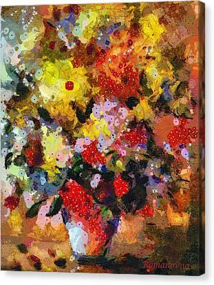 Flower Blooms Canvas Print - Hint Of Klimt by Georgiana Romanovna