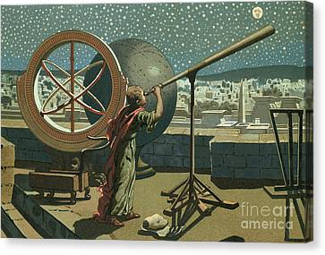 Orb Canvas Print - Hipparchus In The Observatory In Alexandria by Josep or Jose Planella Coromina