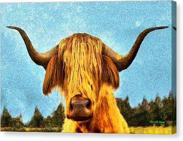 Copper Canvas Print - Hippie Cow - Da by Leonardo Digenio