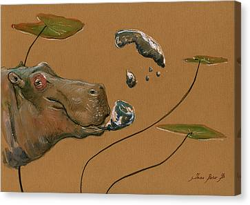 Hippopotamus Canvas Print - Hippo Bubbles by Juan  Bosco