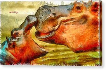 Hippo Family - Pa Canvas Print by Leonardo Digenio