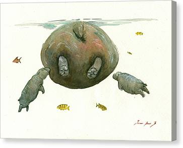 Hippo Mom With Baby Canvas Print by Juan Bosco