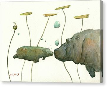 Hippo Mom With Babyv Canvas Print by Juan Bosco