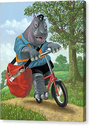 Hippo Post Man On Cycle Canvas Print by Martin Davey