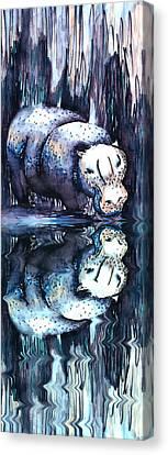 Hippo Reflection Canvas Print by Geckojoy Gecko Books