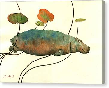 Hippopotamus Canvas Print - Hippo Swimming With Water Lilies by Juan  Bosco