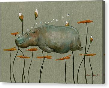 Hippopotamus Canvas Print - Hippo Underwater by Juan  Bosco
