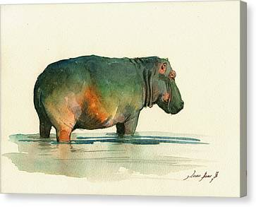 Kid Wall Art Canvas Print - Hippo Watercolor Painting by Juan  Bosco