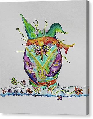Hippy Owl- Vertical Format Canvas Print