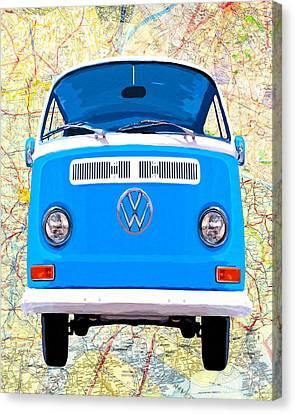 1960 Canvas Print - Hippy Van Travels - Classic Vw Bus by Mark Tisdale