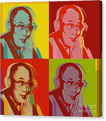 Canvas Print featuring the digital art His Holiness The Dalai Lama Of Tibet by Jean luc Comperat