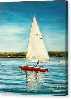 Canvas Print featuring the painting His Laser by Elizabeth Robinette Tyndall