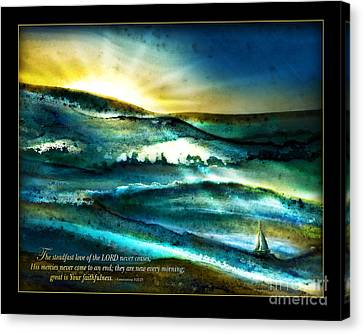 Canvas Print featuring the mixed media His Mercies Are New Every Morning -verse by Shevon Johnson
