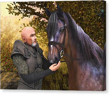 Canvas Print featuring the digital art His Noble Steed by Jayne Wilson