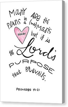 His Purpose Prevails Canvas Print by Nancy Ingersoll