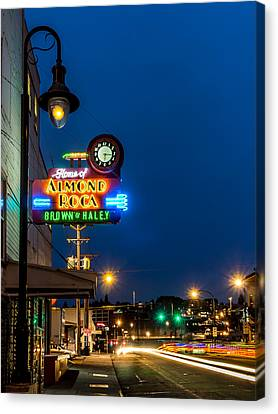 Historic Almond Roca Co. During Blue Hour Canvas Print by Rob Green