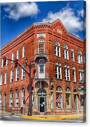 Historic Bank Building Lewisburg West Virginia Canvas Print by Kerri Farley