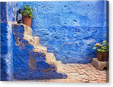 Catherine White Canvas Print - Historic Blue Stairs by Jess Kraft
