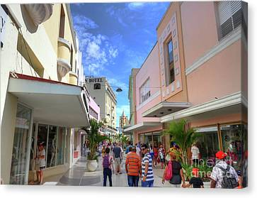 Historic Camaguey Cuba Prints Commercial Center Canvas Print by Wayne Moran