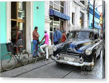 Historic Camaguey Cuba Prints The Cars 2 Canvas Print by Wayne Moran