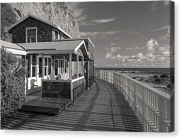 Historic Cottage  Crystal Cove Black And White Canvas Print