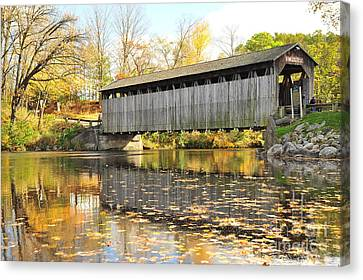 Country Road Canvas Print - Historic Fallasburg Covered Bridge by Terri Gostola
