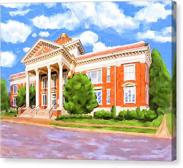 Canvas Print featuring the painting Historic Georgia Southwestern - Americus by Mark Tisdale