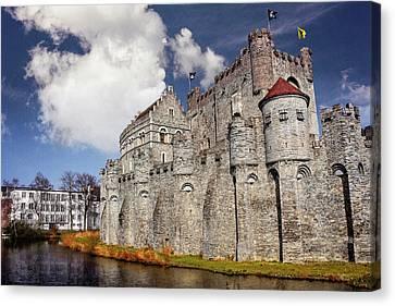 Medieval Canvas Print - Historic Gravensteen Castle In Ghent  by Carol Japp